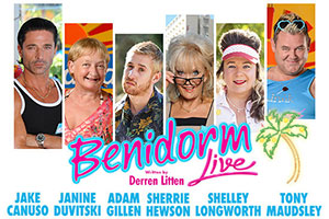 Benidorm. Image shows from L to R: Mateo (Jake Canuso), Jacqueline Stewart (Janine Duvitski), Liam (Adam Gillen), Joyce Temple Savage (Sherrie Hewson), Sam (Shelley Longworth), Kenneth (Tony Maudsley). Copyright: Tiger Aspect Productions.