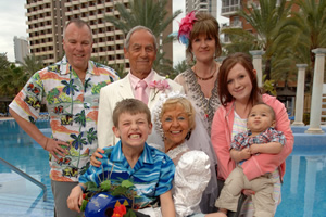 Benidorm. Image shows from L to R: Mick Garvey (Steve Pemberton), Michael Garvey (Oliver Stokes), Mel (Geoffrey Hutchings), Madge (Sheila Reid), Janice Garvey (Siobhan Finneran), Chantelle Garvey (Hannah Hobley). Image credit: Tiger Aspect Productions.