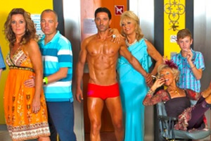 Benidorm. Image shows from L to R: Janice Garvey (Siobhan Finneran), Mick Garvey (Steve Pemberton), Mateo (Jake Canuso), Joyce (Sherrie Hewson), Madge (Sheila Reid), Michael Garvey (Oliver Stokes). Image credit: Tiger Aspect Productions.