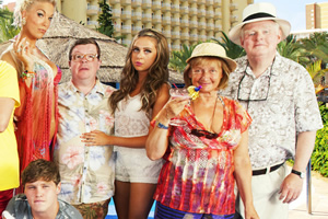 Benidorm. Image shows from L to R: Tonya Dyke (Hannah Waddingham), Tiger Dyke (Danny Walters), Clive Dyke (Perry Benson), Bianca Dyke (Bel Powley), Jacqueline Stewart (Janine Duvitski), Donald Stewart (Kenny Ireland). Image credit: Tiger Aspect Productions.