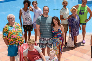 Benidorm. Image shows from L to R: Eddie Dawson (Bobby Knutt), Joey Ellis (Nathan Bryon), Rob Dawson (Josh Bolt), Tiger Dyke (Danny Walters), Billy Dawson (Steve Edge), Jodie Dawson (Honor Kneafsey), Sheron Dawson (Julie Graham), Troy (Paul Bazely), Jacqueline Stewart (Janine Duvitski), Kenneth (Tony Maudsley). Copyright: Tiger Aspect Productions.