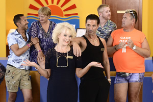 Benidorm. Image shows from L to R: Troy (Paul Bazely), Jacqueline Stewart (Janine Duvitski), Joyce Temple Savage (Sherrie Hewson), Mateo (Jake Canuso), Liam (Adam Gillen), Kenneth (Tony Maudsley). Copyright: Tiger Aspect Productions.