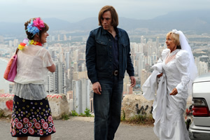 Benidorm. Image shows from L to R: Janice Garvey (Siobhan Finneran), Enrique (Christopher Sciueref), Madge (Sheila Reid). Image credit: Tiger Aspect Productions.