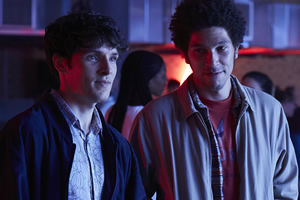 Benjamin. Image shows from L to R: Benjamin (Colin Morgan), Stephen (Joel Fry).