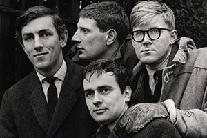 Beyond The Fringe. Image shows from L to R: Peter Cook, Jonathan Miller, Dudley Moore, Alan Bennett. Copyright: BBC.