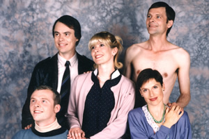 Big Train. Image shows from L to R: Simon Pegg, Kevin Eldon, Julia Davis, Mark Heap, Amelia Bullmore. Copyright: Talkback Productions.