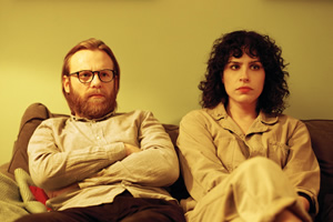 The Bisexual. Image shows from L to R: Gabe (Brian Gleeson), Leila (Desiree Akhavan).