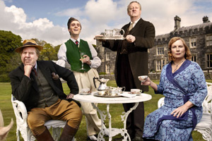 Blandings. Image shows from L to R: Clarence (Timothy Spall), Freddie (Jack Farthing), Beach (Mark Williams), Connie (Jennifer Saunders). Copyright: Mammoth Screen.