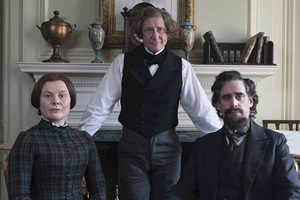 Urban Myths: Bleak House Guest. Image shows from L to R: Catherine Dickens (Monica Dolan), Hans Christian Andersen (Ian Hart), Charles Dickens (Stephen Mangan).