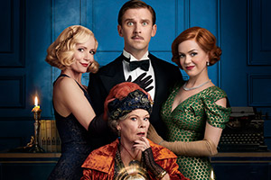Blithe Spirit. Image shows from L to R: Elvira (Leslie Mann), Madame Arcati (Judi Dench), Charles (Dan Stevens), Ruth (Isla Fisher). Copyright: STUDIOCANAL.