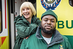 Bloods. Image shows from L to R: Wendy (Jane Horrocks), Maleek (Samson Kayo). Copyright: Roughcut Television.