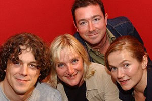 Bob & Rose. Image shows from L to R: Bob (Alan Davies), Rose (Lesley Sharp), Andy (Daniel Ryan), Holly (Jessica Hynes).