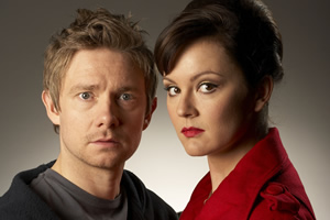 Boy Meets Girl. Image shows from L to R: Danny Reed (Martin Freeman), Veronica Burton (Rachael Stirling). Copyright: Granada Productions.