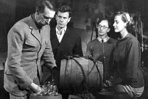 Brandy For The Parson. Image shows from L to R: Redworth (Michael Trubshawe), Bill Harper (James Donald), George Crumb (Charles Hawtrey), Petronilla Brand (Jean Lodge). Copyright: Group 3 Productions.