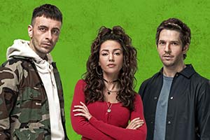 Brassic. Image shows from L to R: Vinnie (Joe Gilgun), Erin (Michelle Keegan), Dylan (Damien Molony). Copyright: Calamity Films.