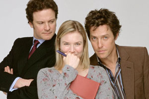 Bridget Jones: The Edge Of Reason. Image shows from L to R: Mark Darcy (Colin Firth), Bridget Jones (Renée Zellweger), Daniel Cleaver (Hugh Grant). Copyright: Working Title Films / Universal Pictures.