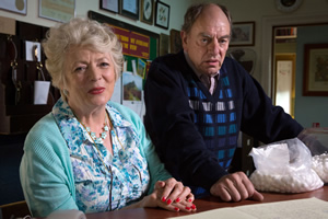 Broken Biscuits. Image shows from L to R: Brenda (Alison Steadman), Roger (Alun Armstrong). Copyright: Jellylegs.