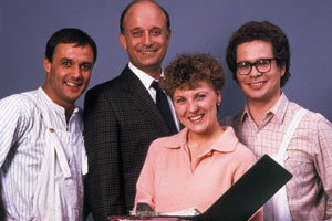 Brush Strokes. Image shows from L to R: Jacko (Karl Howman), Lionel Bainbridge (Gary Waldhorn), Sandra (Jackie Lye), Eric (Mike Walling). Copyright: BBC.