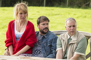 Camping. Image shows from L to R: Fay (Julia Davis), Tom (Rufus Jones), Robin (Steve Pemberton). Copyright: Baby Cow Productions.