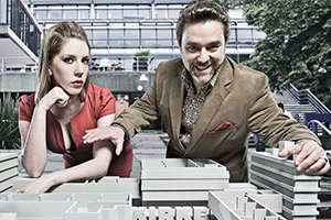Campus. Image shows from L to R: Georgina 'George' Bryan (Katherine Ryan), Jonty de Wolfe (Andy Nyman). Copyright: Monicker Pictures.