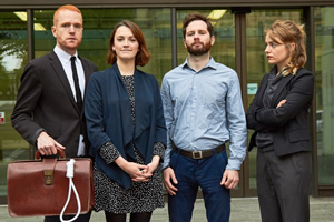 Capital. Image shows from L to R: Adam Drake, Charlotte Ritchie, Liam Williams, Matilda Wnek.