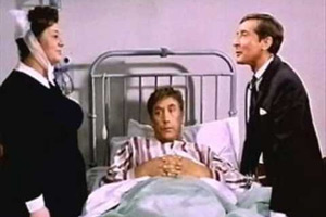 Carry On Doctor. Image shows from L to R: Matron (Hattie Jacques), Francis Bigger (Frankie Howerd), Dr. Tinkle (Kenneth Williams). Copyright: Peter Rogers Productions.