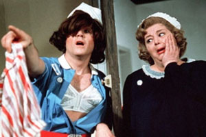Carry On Matron. Image shows from L to R: Cyril Carter (Kenneth Cope), Matron (Hattie Jacques).