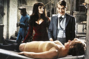 Carry On Screaming!. Image shows from L to R: Oddbod (Tom Clegg), Valeria Watt (Fenella Fielding), Dr Orlando Watt (Kenneth Williams), Unknown. Copyright: Peter Rogers Productions.