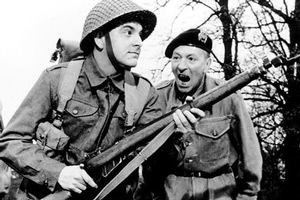 Carry On Sergeant. Image shows from L to R: Charlie Sage (Bob Monkhouse), Sergeant Grimshawe (William Hartnell). Copyright: Peter Rogers Productions.