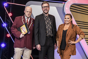CelebAbility. Image shows from L to R: Marek Larwood, Iain Stirling, Scarlett Moffatt. Copyright: Potato.
