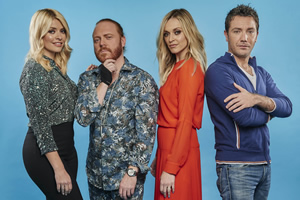 Celebrity Juice. Image shows from L to R: Holly Willoughby, Leigh Francis, Fearne Cotton, Gino D'Acampo.