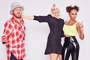 Celebrity Juice. Image shows from L to R: Leigh Francis, Holly Willoughby, Melanie Brown.