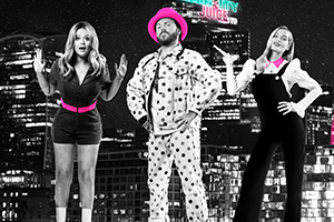 Celebrity Juice. Image shows from L to R: Emily Atack, Leigh Francis, Laura Whitmore.