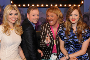 Celebrity Juice. Image shows from L to R: Holly Willoughby, Rufus Hound, Leigh Francis, Fearne Cotton.