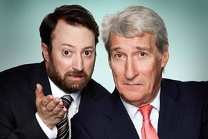 Channel 4's Alternative Election Night. Image shows from L to R: David Mitchell, Jeremy Paxman. Copyright: Zeppotron.