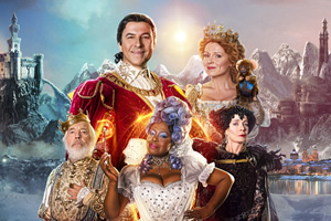 After Ever After. Image shows from L to R: King (Tom Courtenay), Prince Charming (David Walliams), Fairy Godmother (Ellen Thomas), Cinderella (Sian Gibson), Madame Blackheart (Celia Imrie). Copyright: King Bert Productions.