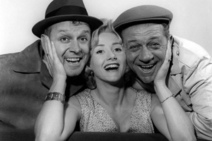 Citizen James. Image shows from L to R: Bill (Bill Kerr), Liz (Liz Fraser), Sid James (Sid James). Copyright: BBC.