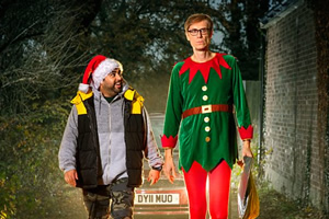 Click & Collect. Image shows from L to R: Dev D'Cruz (Asim Chaudhry), Andrew Bennett (Stephen Merchant).