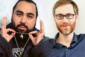 Image shows from L to R: Stephen Merchant, Asim Chaudhry.