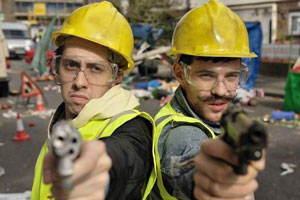 Cockneys Vs Zombies. Image shows from L to R: Terry (Rasmus Hardiker), Andy (Harry Treadaway).