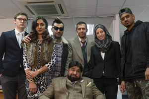 Coconut. Image shows from L to R: James Perry (Ben Ashenden), Camilla Armstrong (Krupa Pattani), Tommy Khan (Peter Singh), Ahmed Armstrong (Humza Arshad), Bilal Khan (Muj Shah), Halima Thomas (Harrie Hayes), Abdul Dulab (Char Avell). Copyright: Big Deal Films.