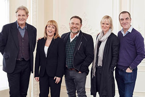 Cold Feet. Image shows from L to R: David Marsden (Robert Bathurst), Jenny Gifford (Fay Ripley), Pete Gifford (John Thomson), Karen Marsden (Hermione Norris), Adam Williams (James Nesbitt).