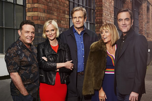 Cold Feet. Image shows from L to R: Pete Gifford (John Thomson), Karen Marsden (Hermione Norris), David Marsden (Robert Bathurst), Jenny Gifford (Fay Ripley), Adam Williams (James Nesbitt).