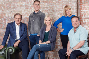 Cold Feet. Image shows from L to R: David Marsden (Robert Bathurst), Adam Williams (James Nesbitt), Karen Marsden (Hermione Norris), Jenny Gifford (Fay Ripley), Pete Gifford (John Thomson). Copyright: Big Talk Productions.