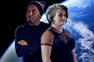 Comedians Solve World Problems. Image shows from L to R: Dane Baptiste, Kiri Pritchard-McLean. Copyright: Rumpus Media.