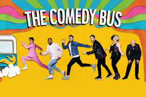 The Comedy Bus. Image shows from L to R: Suzi Ruffell, Darren Harriott, Joel Dommett, Iain Stirling, Kiri Pritchard-McLean, Tom Allen.