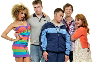 Coming Of Age. Image shows from L to R: Jas (Hannah Job), Ollie (Ceri Phillips), DK (Joe Tracini), Matt (Tony Bignell), Chloe (Anabel Barnston). Copyright: BBC.