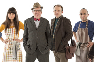 Count Arthur Strong. Image shows from L to R: Sinem (Zahra Ahmadi), Count Arthur Strong (Steve Delaney), Michael Baker (Rory Kinnear), Bulent (Chris Ryman).