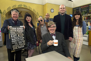 Count Arthur Strong. Image shows from L to R: Eggy (Dave Plimmer), Birdie (Bronagh Gallagher), John The Watch (Andy Linden), Bulent (Chris Ryman), Count Arthur Strong (Steve Delaney), Michael Baker (Rory Kinnear), Sinem (Zahra Ahmadi).