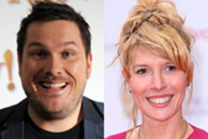 Image shows from L to R: Marc Wootton, Julia Davis.